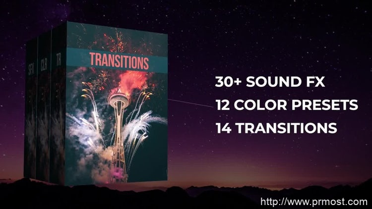 010-50组转场过渡调色预设Pr素材带音效,50+ Pack Transitions, Color Presets, Sound Fx