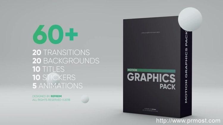 012-60组转场文字标题卡通动画Pr模版,Motion Graphics Pack
