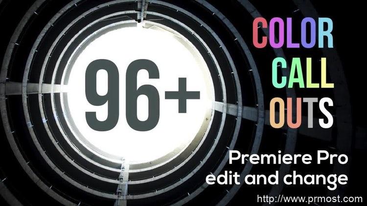 014-96+组呼号文字标题产品分解介绍Pr模版,96+ Color Call Outs V2.0