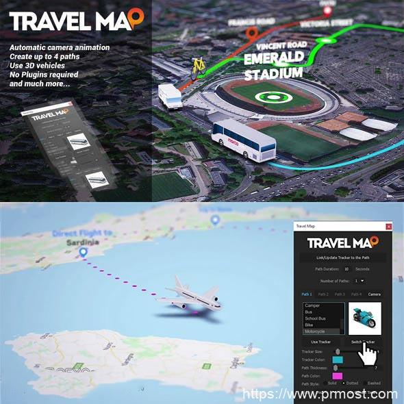 AE脚本模板-自定义地图路径连线动画 破解版