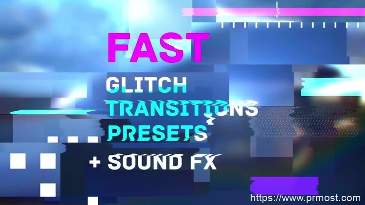 099信号干扰转场Pr预设Pr模版,Fast Glitch Transitions Presets