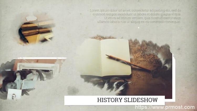 106水墨绽开图片展示Pr模版,History Slideshow