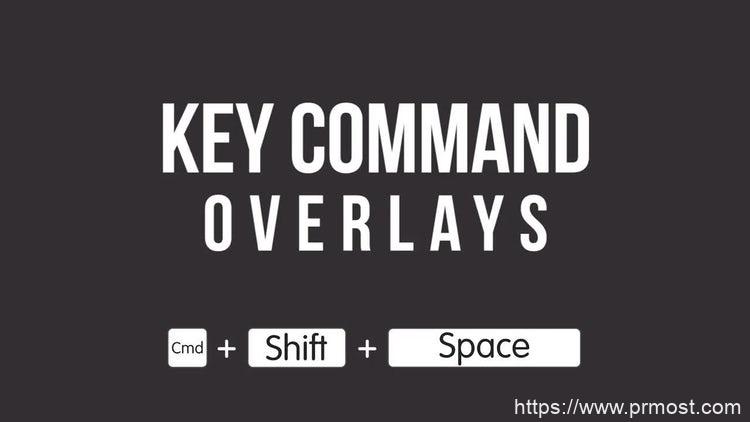 116视频录屏快捷键添加创意视频Pr模版,Key Command Overlays For Tutorials