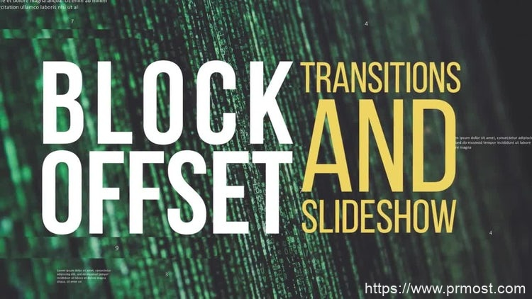 131马赛克位移视频转场过渡Pr模版,Block Offset Transitions & Slideshow