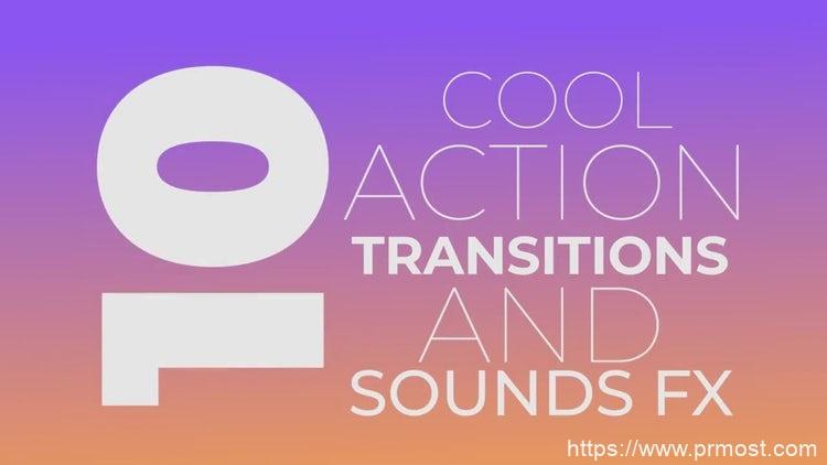 135创意酷炫开场转场过渡特效Pr模版,Cool Action Transitions