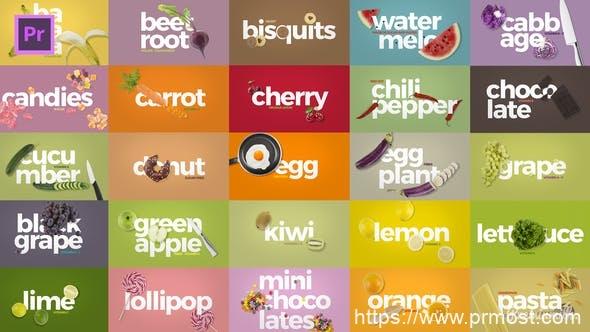 235烹饪美食风格电视栏目包装Mogrt预设Pr预设,Broadcast Cooking Package Essential Graphics | Mogrt