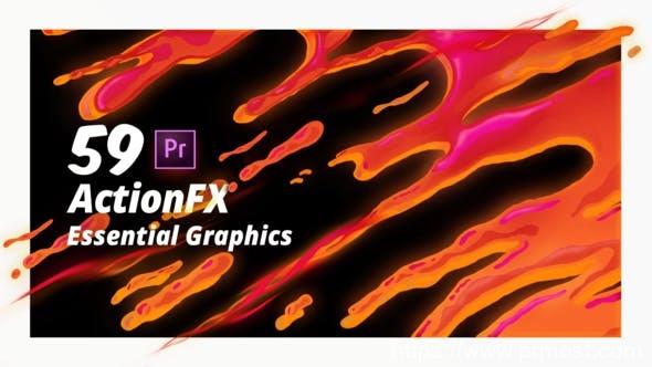 252-50组水花烟雾特效转场mogrt预设,ActionFX Fire Smoke Water Effects for Premiere Pro