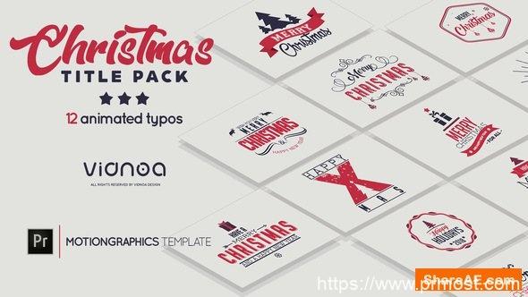 389圣诞节节日文字标题Mogrt动画Pr预设,Christmas Title Pack | Holidays