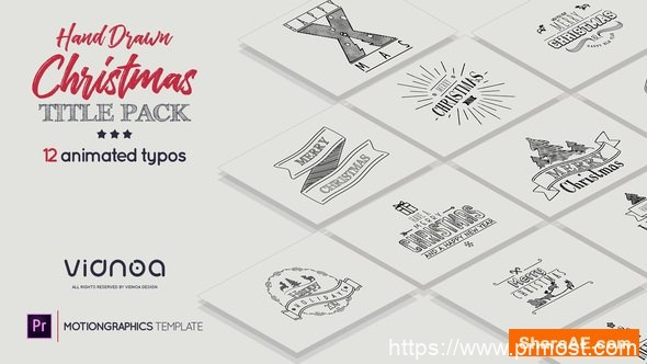 390手绘圣诞节文字标题Mogrt动画Pr预设,Hand Drawn Christmas Titles Premiere Pro | Holidays