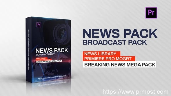 424新闻电视栏目包装Mogrt预设Pr预设,News Library – Broadcast Pack