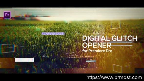 425信号干扰数字科技视频开场Pr模版,Glitch Digital Opener for Premiere Pro