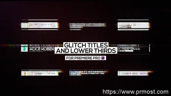 429信号干扰文字标题字幕条动画Pr模版,Glitch Titles and Lower Thirds for Premiere Pro