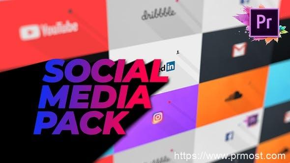 441扁平社交媒体logo演绎Mogrt预设Pr预设,Flat Social Media Pack For Premiere Pro | Mogrt