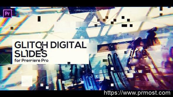 450信号干扰数字科技视频宣传Pr模版,Glitch Digital Slides for Premiere Pro
