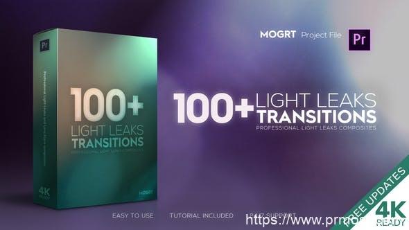 458-100+4K光效转场特效Mogrt预设Pr预设,4K Light Leaks Transitions