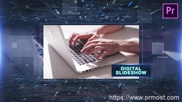 479数字科技图片展示视频包装Pr模版,Digital Slideshow