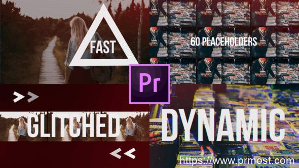 497快速信号干扰图片展示Pr模版,Fast Glitch Slideshow // Dynamic Opener
