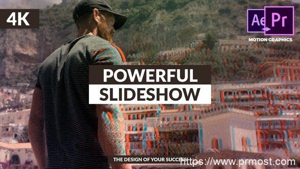 522创意动态信号干扰图片展示Mogrt预设Pr预设,Powerful & Stylish Slideshow