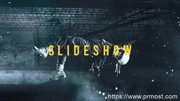 527信号干扰图片展示Pr模版,Glitch Slideshow