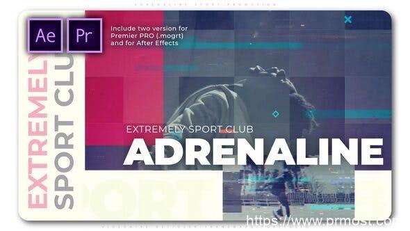 550动态信号干扰快闪视频Mogrt预设AE模版,Adrenaline Sport Promotion