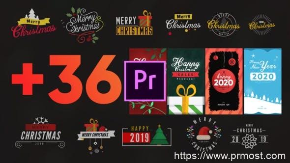 563圣诞节节日视频开场Mogrt动画Pr预设,Christmas Elements Pack-MOGRT