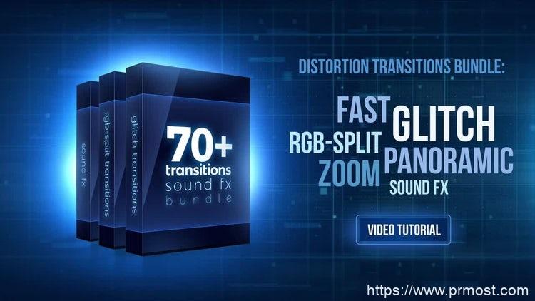188-70+信号干扰转场特效Pr模版,70+ Bundle: Glitch And RGB-split Transitions, Sound FX