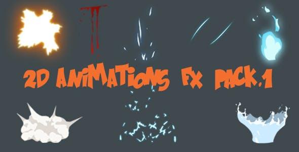 2D卡通液体动画血/能量/火/烟尘/水元素视频素材