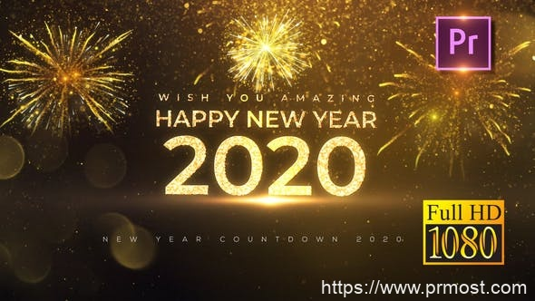 572-2020新年倒计时Mogrt预设Pr预设,New Year Countdown 2020 – Premiere PRO