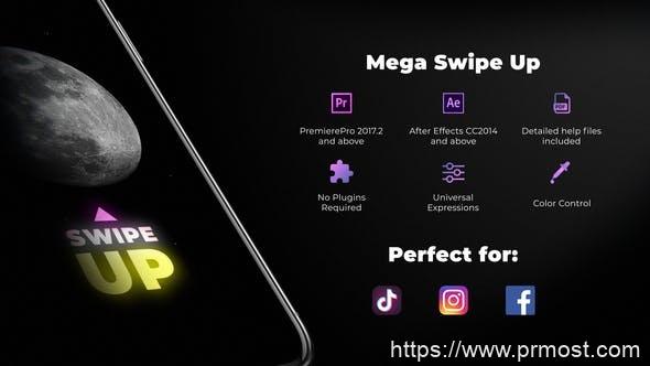 587手机屏幕图片展示切换转场Mogrt预设,Mega Swipe Up