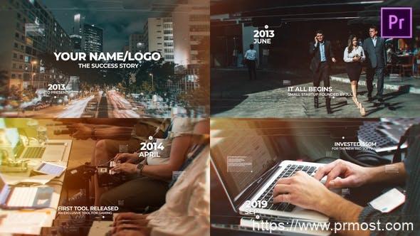 600现代唯美时间线图文展示Mogrt预设AE模版,Modern Timeline Slideshow MOGRT