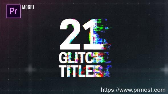 616信号干扰文字标题Mogrt动画Pr预设,Glitch Titles