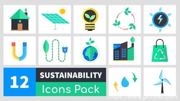 619迷你Icons标识MG动画Mogrt预设,Sustainability Icons Pack