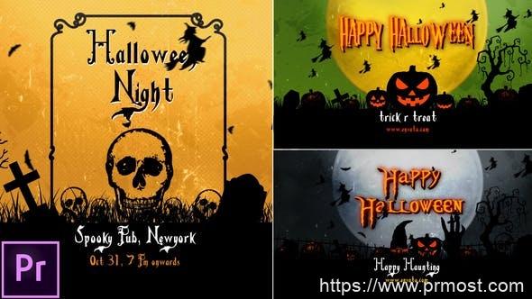 625万圣节视频开场Mogrt动画Pr预设,Halloween Openers – Premiere Pro