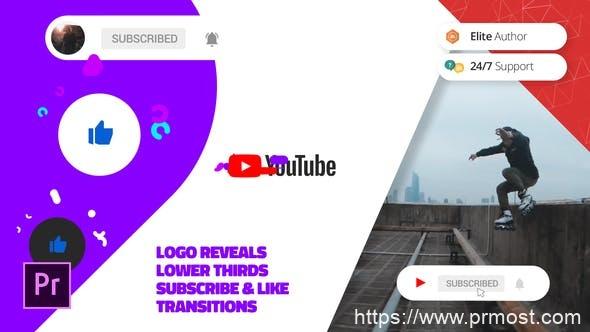 629现代社交媒体视频包装Mogrt预设Pr模版,Modern Youtube Channel