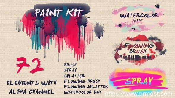 72个水彩墨水笔刷绘制飞溅喷雾元素视频素材