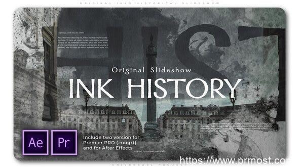 669唯美历史回忆图片展示Mogrt预设Pr预设AE模版,Original Inks Historical Slideshow