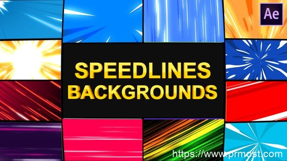 681-12组酷炫多彩卡通动漫速度线循环背景动画Pr预设AE模版,Speedlines Backgrounds | After Effects