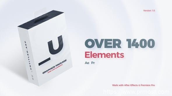 689-1400+时尚短视频社交媒体文字排版图形动画设计元素工具包PR预设AE模板,Untitled // Graphics Package