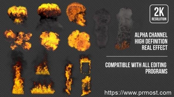 14组高清2K特效爆炸火焰烟雾带通道视频素材