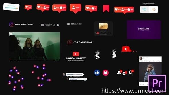 707社交媒体元素Mogrt动画Pr预设AE模版,Social Media Elements – for Premiere Pro