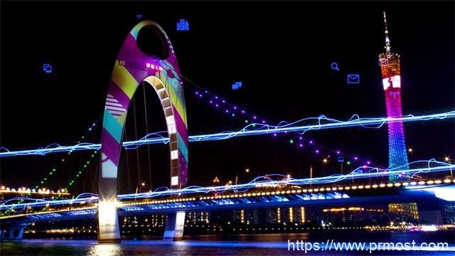 719科技感城市5G光线广州地标片头Pr模板