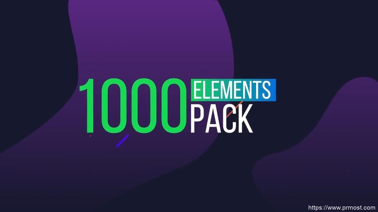 740-1000组创意元素文字转场特效Pr模版