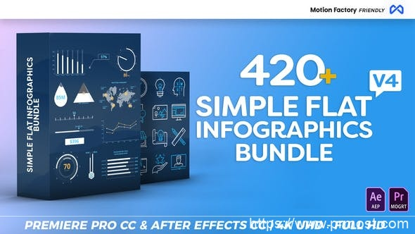 742简洁扁平化数据图表视频包装Mogrt预设AE模版,Simple Flat Infographics Bundle