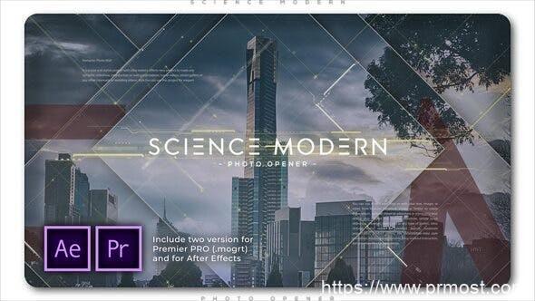 751科学现代视频开场Mogrt预设AE模版,Science Modern Photo Opener