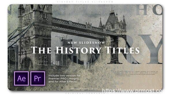 752历史回忆复古图文展示Mogrt预设AE模版,History Titles Slideshow
