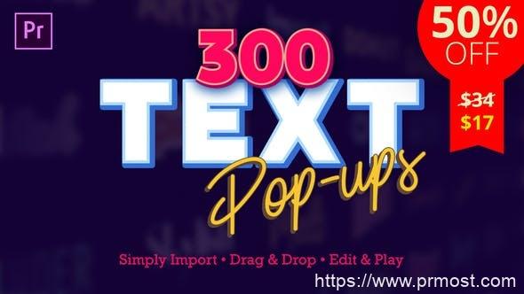 757-300组创意文字特效Pr模版,Text Popups