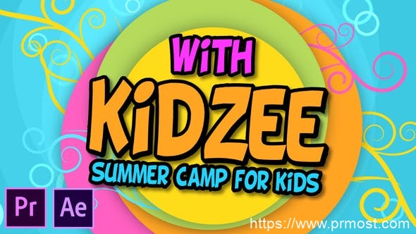 764儿童卡通相册动画Pr模版,Kidzee – Summer Camp For Kids – Premiere Pro