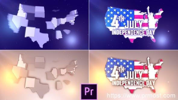 773美国地图logo演绎Mogrt动画Pr预设,USA Patriotic Logo – Premiere Pro