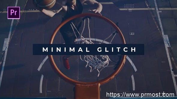 774迷你信号干扰视频包装Pr模版,Minimal glitch Promo