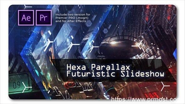 778高科技视频特效Mogrt动画AE模版,Hexa Parallax